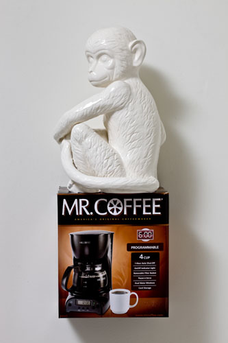 Lyall&Rayne, Mr. Coffee Monkey, 2010, Ceramic, cardboard, coffee pot, 25 x 9 1/2 x 9 in.