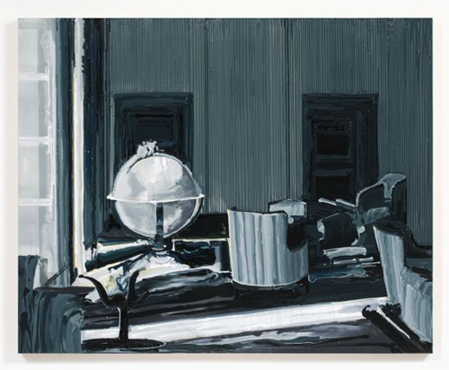 Kirsten Everberg, Interior With Globe (After Tarkovsky), 2008, Oil & enamel on canvas on panel, 4 x 5 ft