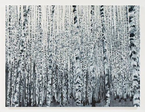 Kirsten Everberg, White Birch Grove, North (After Tarkovsky), 2008, Oil & enamel on canvas on panel, 6 x 8 ft