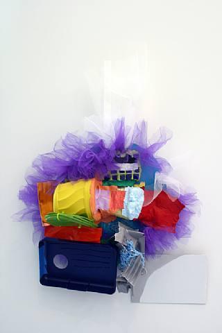 Jessica Stockholder, Untitled, 2007, Plastic parts, cooper flashing, ceramic tiles, adhesive, Lexal caulking adhesive, 38 x 28 x 7 1/2 in. (68.6 x 44.5 x 61 cm)