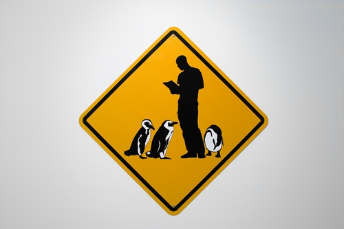 Philippe Parreno, Penguin Crossing, 2006, Reflective and flat vinyl mounted on aluminum, 37 1/2 in diagonal, 95.3 cm diagonal