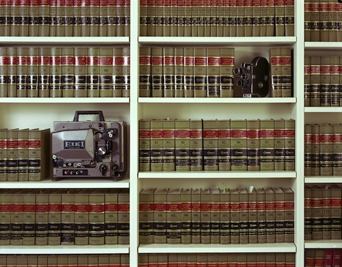 Kerry Tribe, Dad's Books, My Film Equipment, 2006, C-type print, 36.22 x 47.24 in, 9 x 120 cm