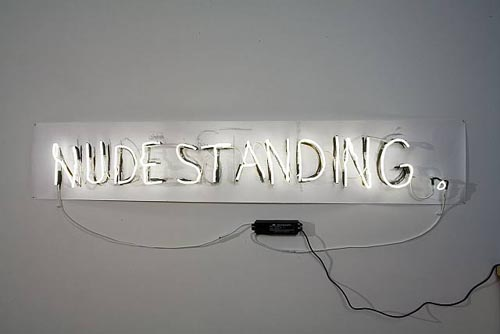 Fiona Banner, Neon Nude Standing, 2006, Neon bent by the artist, clamps, wire, transformers, paper and graphite, 17 x 82 in. (43.2 x 208.3 cm)
