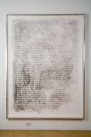 Fiona Banner, Smoky Nude, 2006, Graphtie on paper, 67.2 x 89.2 in. (170.7 x 226.6 cm)