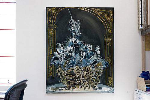 Kirsten Everberg, Fountain, Nancy, 2005, Oil and enamel on panel, 48 x 60 in.