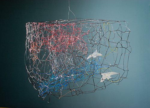 Pae White, Cage (Hair Birds), 2005, Wire, laminated paper and hair, 17 x 25 x 28 in