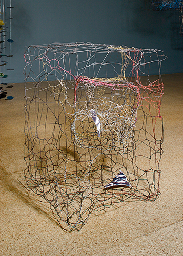 Pae White, Floor Cage, 2005, Wire and laminated paper, 26 x 17 x 18 1/2 in.