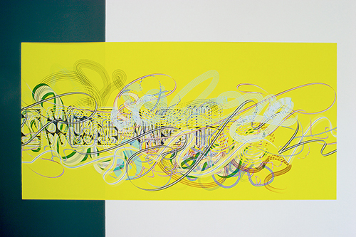 Pae White, Farewell Garland; so long, so long, 2005, Adhesive vinyl, 44 x 90 in.