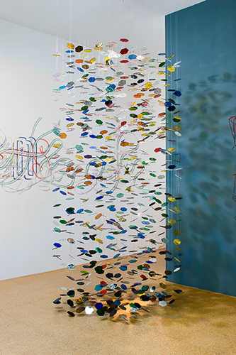 Pae White, FedEx Festoon, 2005, Glass, string and laminated FedEx waybills, Variable dimensions
