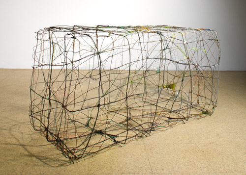 Pae White, Birdcage, Wire Sampler, 2005, Mixed wire, 26 x 50 x 22 1/2 in.