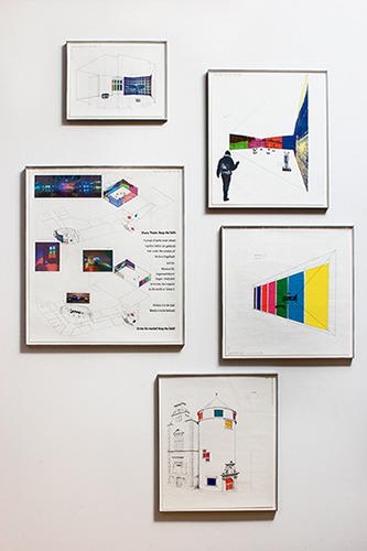 Diana Thater, Siegen Installation Drawings, 2003, Vellum with ink, graphite, pantone film, and ink jet prints