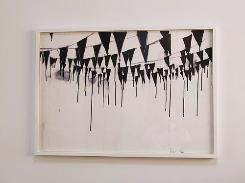 Fiona Banner, Bleeding Flags, 1999, ink on paper, 71 x 100.5 cm