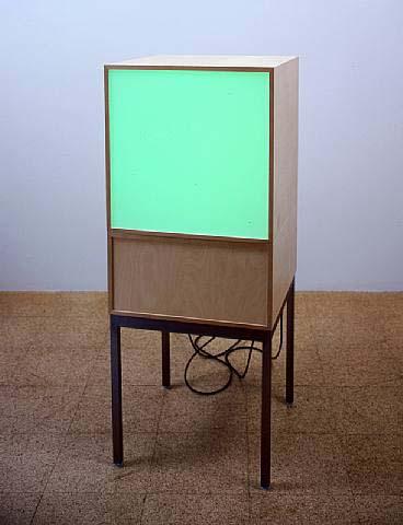 Angela Bulloch, TV Series: Dateline London 4a:0u, 2002, 1 DMX module, 1 Demi-black box module, legs, 49 1/4 x 19 3/4 x 19 3/4 in.