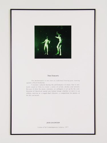 Jack Goldstein, Portfolio of Performance (Two Fencers), 1976-1985/2001, 9 Silk-screened text and color photographs mounted on paper