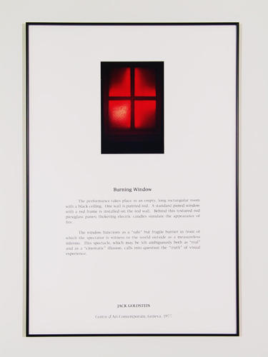 Jack Goldstein, Portfolio of Performance (Burning Window), 1976-1985/2001, 9 Silk-screened text and color photographs mounted on paper