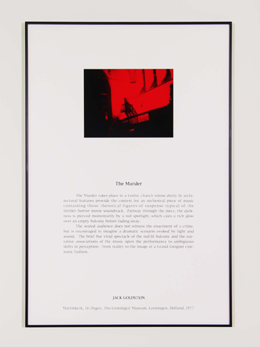 Jack Goldstein, Portfolio of Performance (The Murder), 1976-1985/2001, 9 Silk-screened text and color photographs mounted on paper