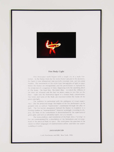 Jack Goldstein, Portfolio of Performance (Fire/Body/Light), 1976-1985/2001, 9 Silk-screened text and color photographs mounted on paper