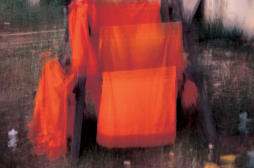 Rirkrit Tiravanija, Untitled (robes), 1998-99, Ultra glossy c-print on vinyl frame in MDF, 20 1/2 x 14 3/4 in.
