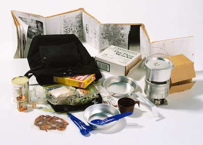 A kit of camping essentials forms Without Title (Rucksack Installation), by Rirkrit Tiravanija, 1993