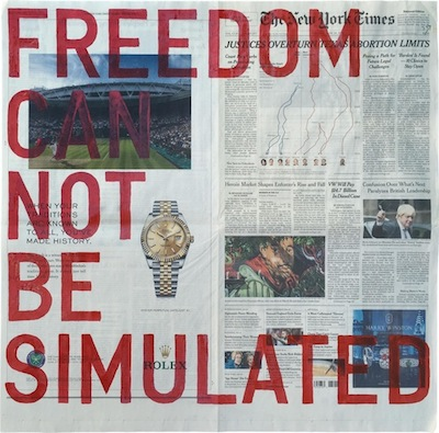 Rirkrit Tiravanija,  Untitled (freedom can not be simulated, new york times, june 28, 2016) , 2016