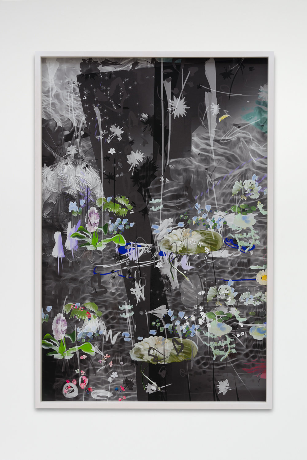 "Petra Cortright, ""DMR billing***do It yourself evolution video,"" 2017, Digital painting on Sunset Hot Press Rag paper, 46 x 30 inches"
