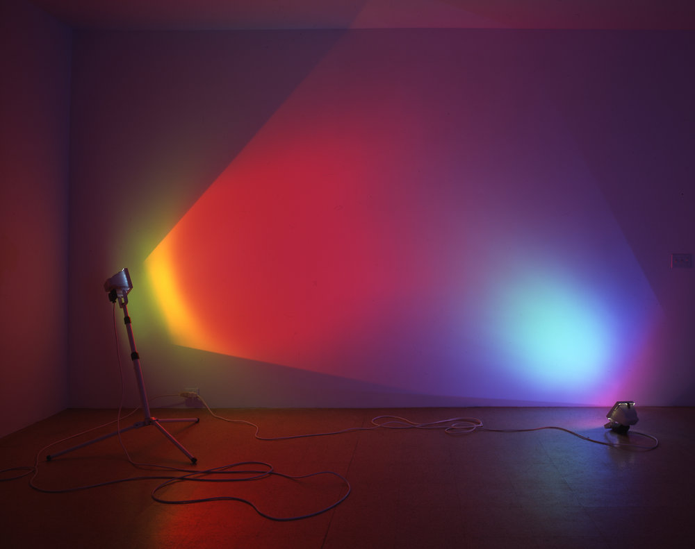 "Ann Veronica Janssens, ""Red and Turquoise,"" 2005, 2 x 500-300 watt halogen lamp, dichroic colour filter, tripod, Dimension variable, approx. 187.01 x 118.11 inches"