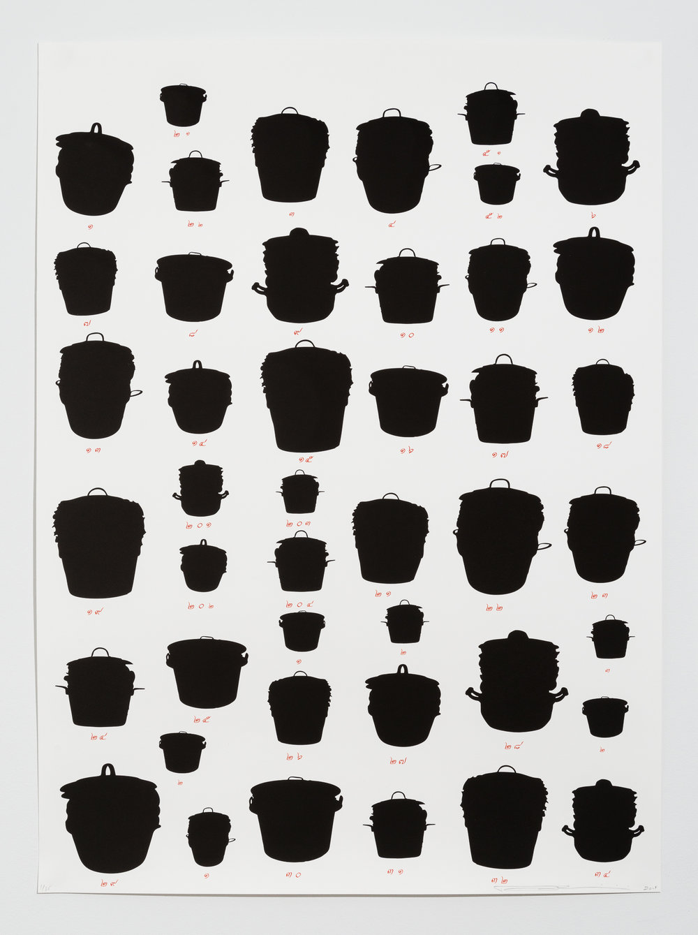 "(1 of 3) Rirkrit Tiravanija, ""Untitled,"" 2014, Lithograph, 45 x 33 inches each, Edition of 35"