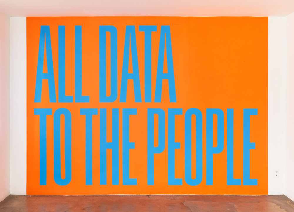 """SUPERFLEX, """"All Data to the People,"""" 2018, Hand painted mural with acrylic / unique."""
