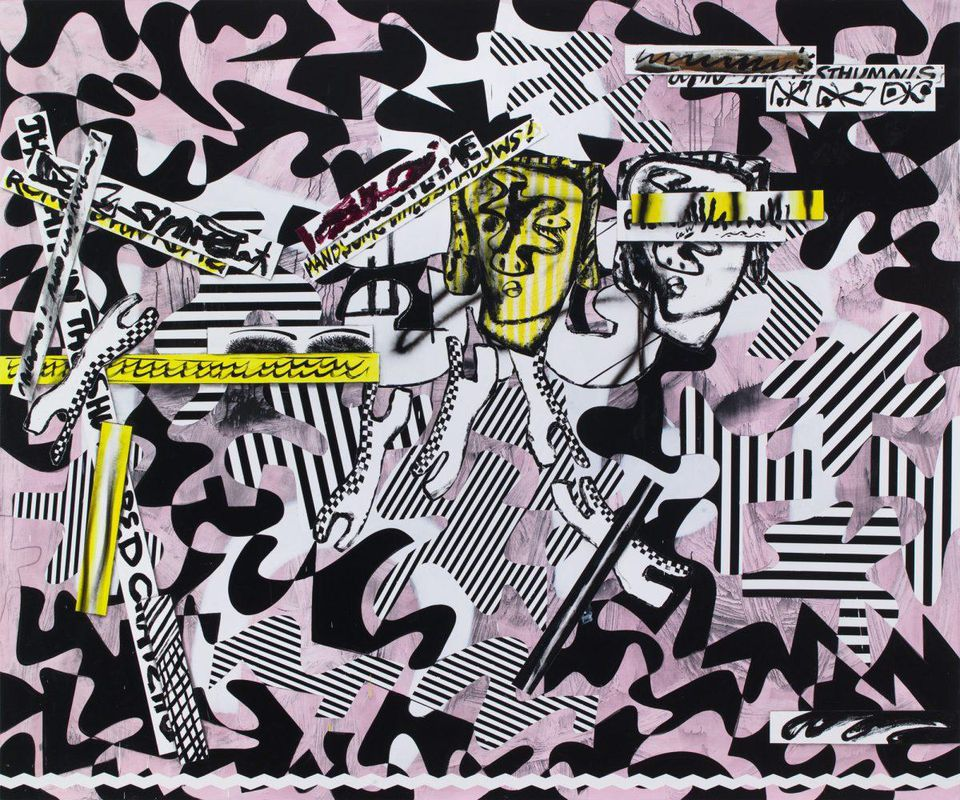 Charline von Heyl,  The Language of the Underworld , 2017. © 2018 CHARLINE VON HEYL. COURTESY OF THE ARTIST AND PETZEL, NEW YORK.