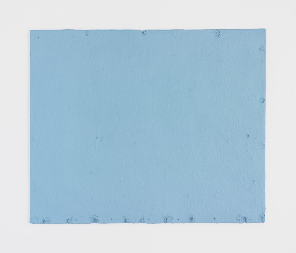 Fiona Connor, Untitled #17 (6545 N Figueroa St, Los Angeles, CA 90042), 2018. Cast resin, light blue acrylic paint.