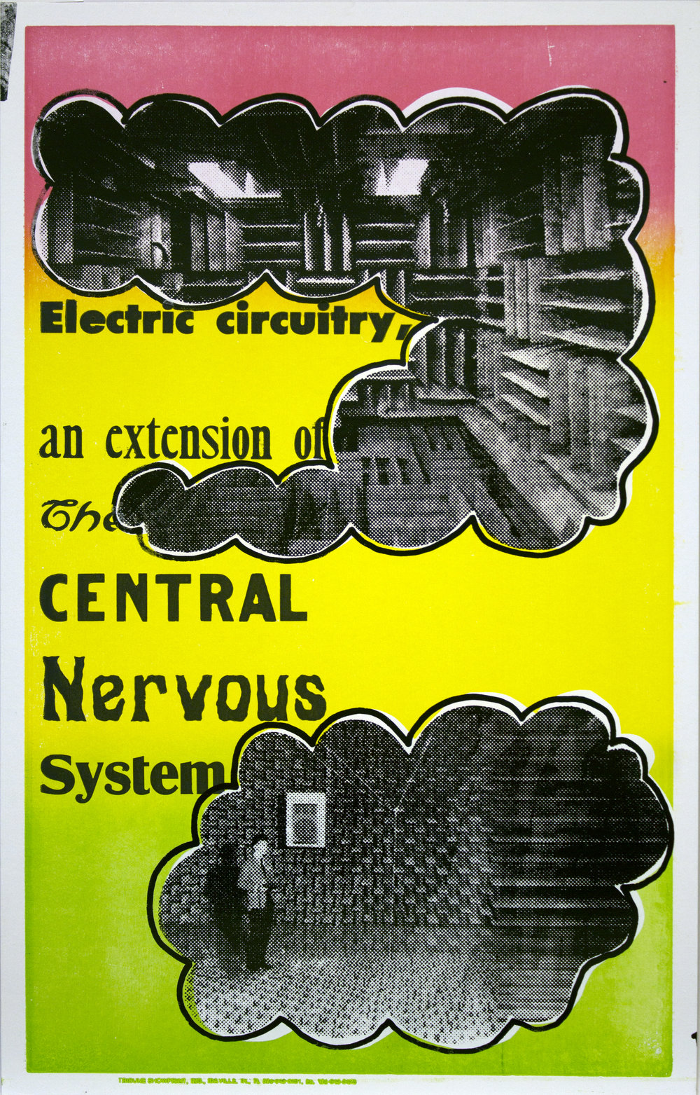Christopher Michlig and Jan Tumlir,  Adventures in Sensory Deprivation 2: Audio (Electric circuitry, an extension of the CENTRAL Nervous System) , 2017. Silkscreen and letterpress on poster board, 14 x 22 inches