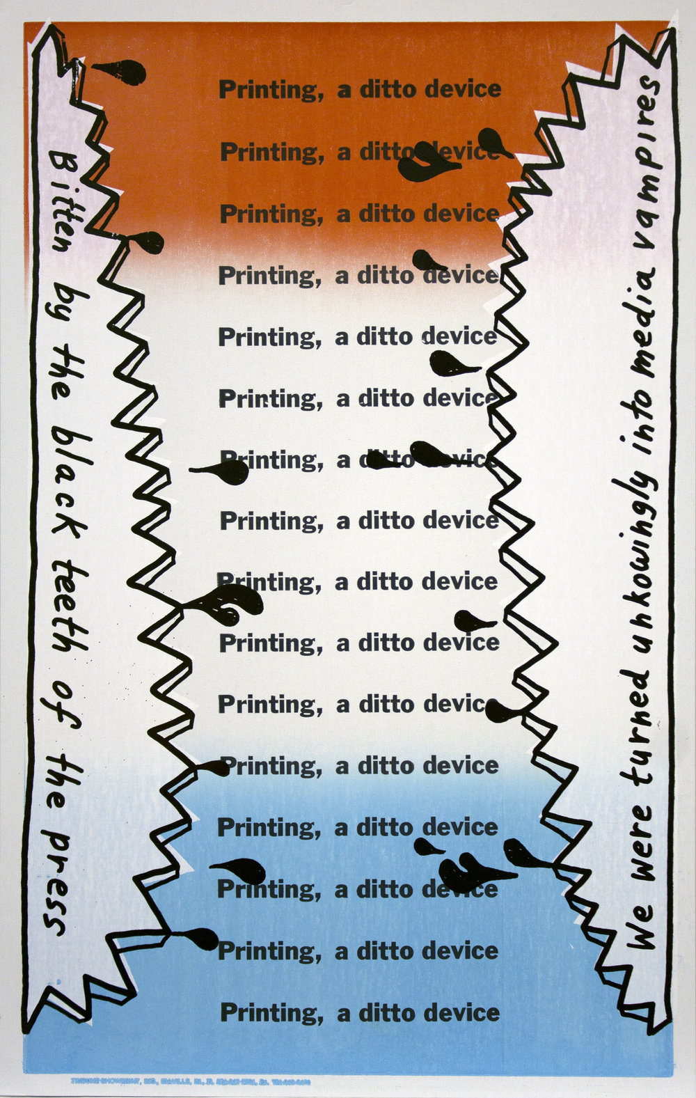 Christopher Michlig and Jan Tumlir,  Twilight (Printing, a ditto device) , 2017. Silkscreen and letterpress on poster board, 14 x 22 inches