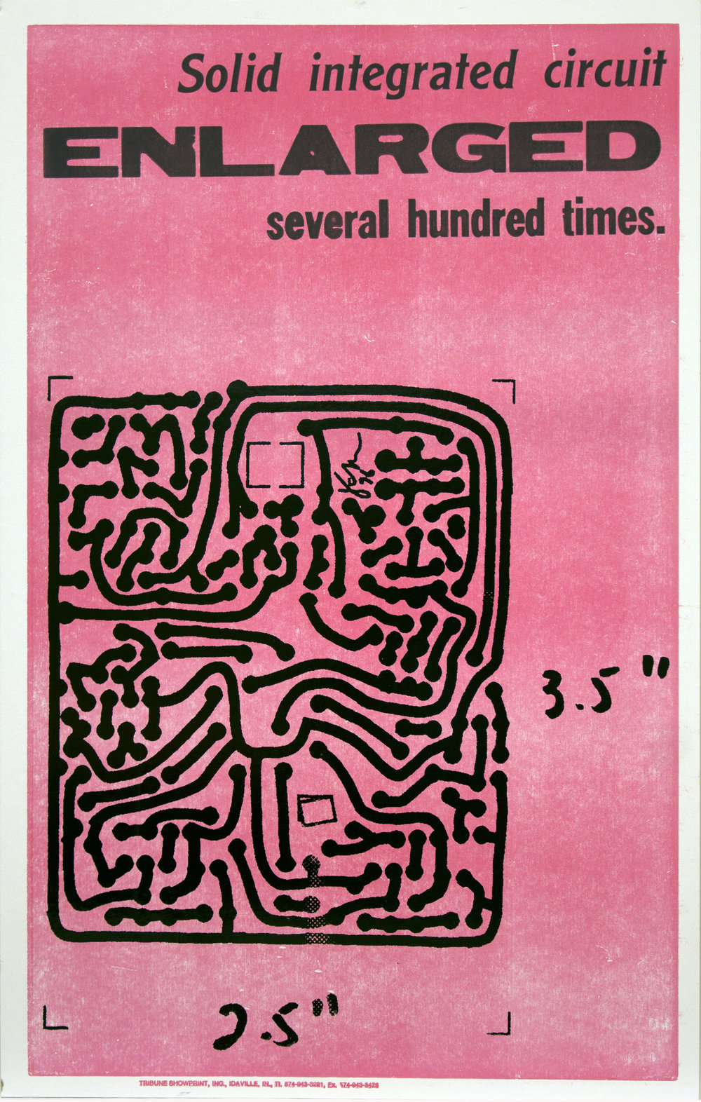 Christopher Michlig and Jan Tumlir,  Micro and Macro Intelligence (Solid integrated circuit ENLARGED several hundred times). , 2017. Silkscreen and letterpress on poster board, 14 x 22 inches