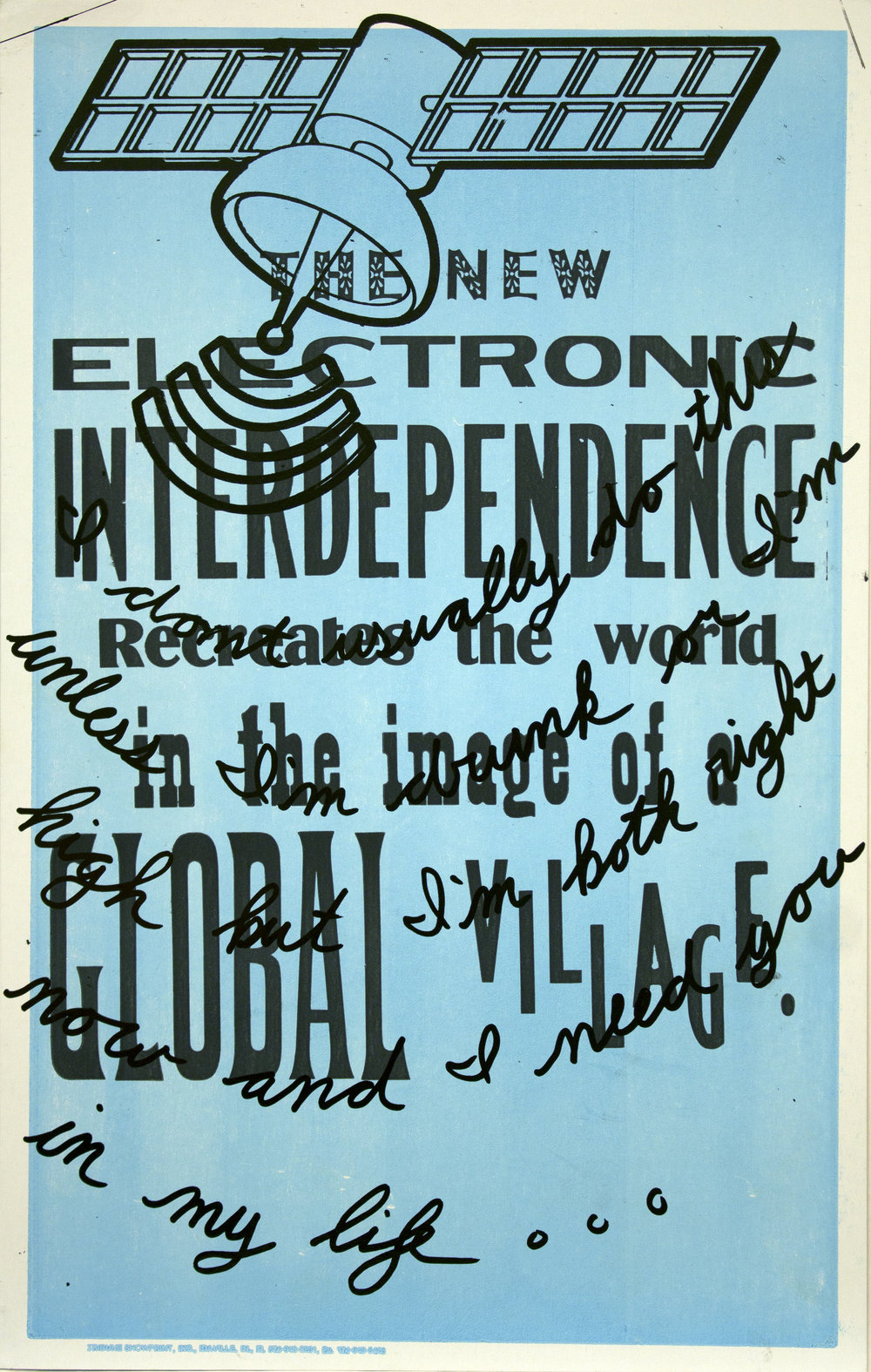 Christopher Michlig and Jan Tumlir,  Gucci Main is Streaming (THE NEW ELECTRONIC INTERDEPENDENCE Recreates the world in the image of a GLOBAL VILLAGE) , 2017. Silkscreen and letterpress on poster board, 14 x 22 inches