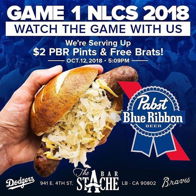 The journey continues tonight. @dodgers vs @brewers 5pm on the big screen with sound. $2 @pabstblueribbon pints and FREE brats. #longbeach #nlcs #4thstreetlb