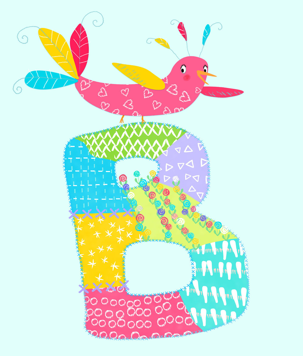 Whimsical B is for Bird