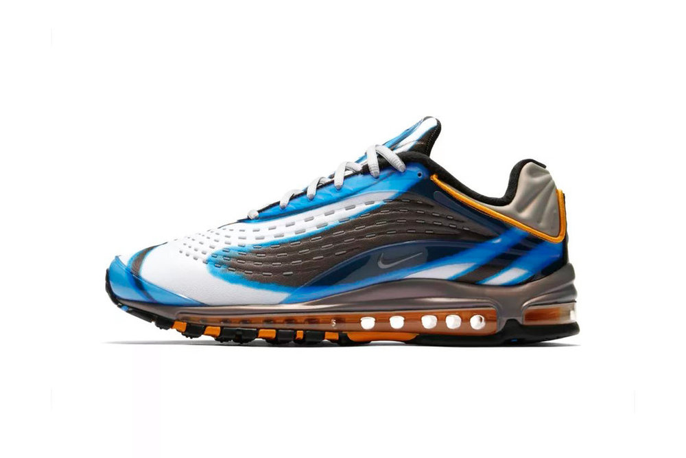 This OG colorway of the Nike Air Max Deluxe already released over seas a couple of weeks ago and now it's seeing a stateside release. The rave-inspired sneaker sports a black, white, and blue wave pattern across its neoprene upper with orange hits on the heel and Air unit. Part of the heel has the same material as Foamposites as a nod to the basketball sneaker.   Release Date:  Friday, Aug. 10 at 10 a.m.   Original Sales Price:  $180   Where to cop:  Nike SNKRS and other select retailers