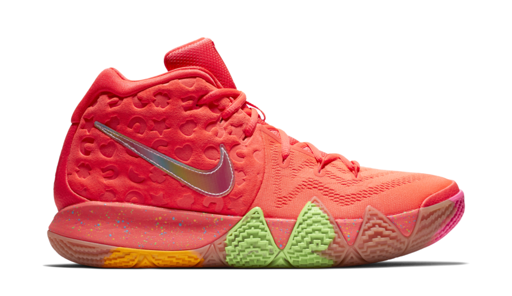 "Lucky Charms, Cinnamon Toast Crunch, and Kix are used as inspiration for this Kyrie 4 pack.  Highlights include the shapes of each marshmallow embossed into the upper of the red ""Lucky Charms"" pair and a rigid design on the ""Cinnamon Toast Crunch"" color scheme to resemble the cinnamon swirled squares. The official logos are on the tongue of each pair, while the insoles display a graphic of each cereal as well.     Release Date:  Saturday, Aug. 11 at 10 a.m.   Original Sales Price:  $120   Where to cop:  Nike SNKRS and other select retailers"
