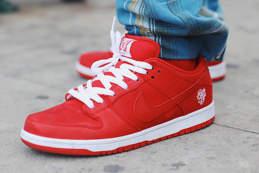 "This sneaker was not made specifically for Valentines Day, but we thought it still makes a great V-Day gift.  Verdy of ""Girls Don't Cry"" has a Nike SB Dunk Low pack dropping on February 9th. Rumored to be releasing in two color ways: All red and an all cream version."