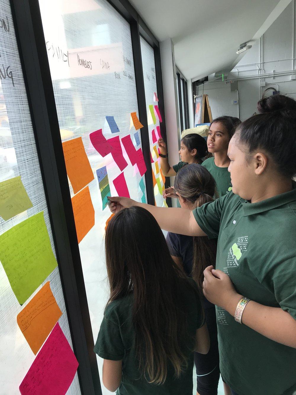 Hālau Kū Māna students working on growing their ideas collaboratively at Hālau ʻĪnana.
