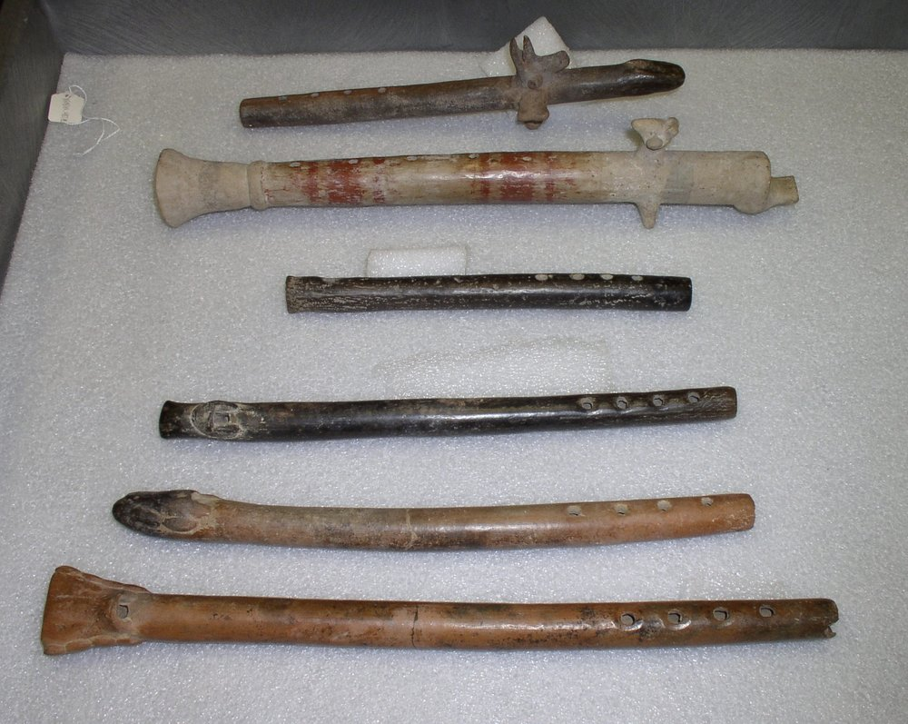 Image: Six PreHispanic W. Mexican flutes in the collection at Fowler Museum, UCLA