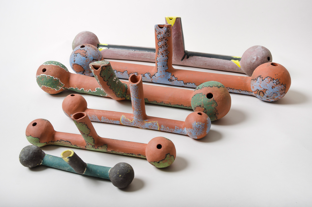 """Polyglobular water flutes , 2 balls (globes,) 2 tubes; the red clay ones are fairly recent; my older one is in the back of both pictures. Water flutes use chance and skill in play, the chance comes from the movement of the water, the skill from changes in air pressure and movement control.  Front small flute is 3""""H X 8""""W X 1.5""""D, & warbles higher"""