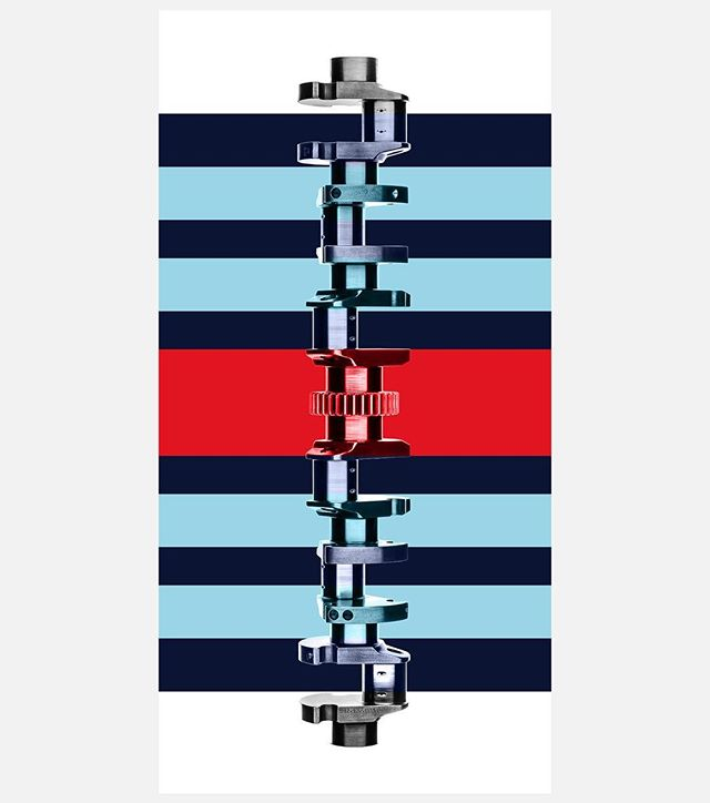 Typ 912 crankshaft from the Porsche 917, dressed with Martini Racing colors. #zachjamestodd #porsche #crankshaft #martini #917 #prints #12cylinders