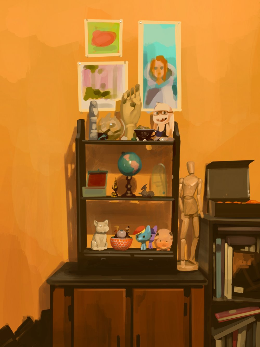 iPad painting of a shelf in my bedroom.