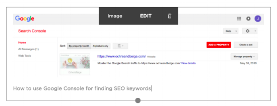 Example screenshot of adding alt-text to an image within Squarespace for SEO.