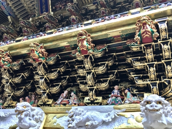 Decorated eaves in a temple in Nikko, Japan