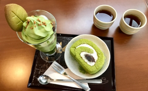 Matcha ice cream parfait, matcha cake, and a deliciously delicate roasted tea