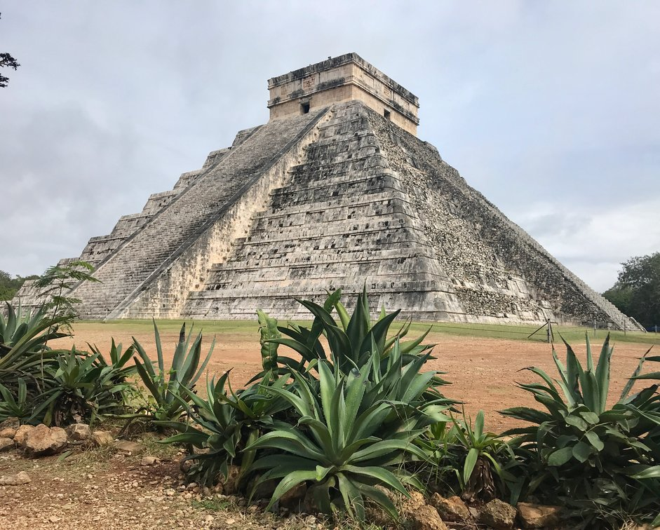 Pyramid of Temple of Kukulkán in Chichén Itza, one of the Seven Wonders of the World. Actually got a shot without any tourists in it!!!