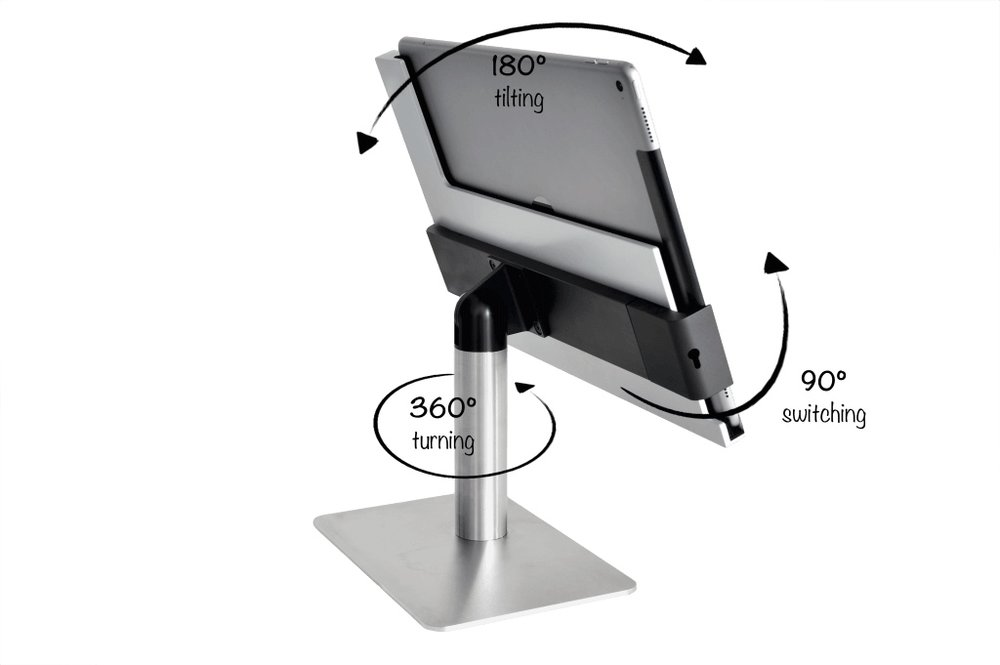 Maximum Flexibility - With the special rotating joint in our premium iPad docking station, the iPad can be rotated 360 degrees, tilted up to 180 degrees. This iPad stand always has the perfect angle for you. And even more: free flex iPad stand can be switched between vertical and horizontal formats. Simply intelligent.