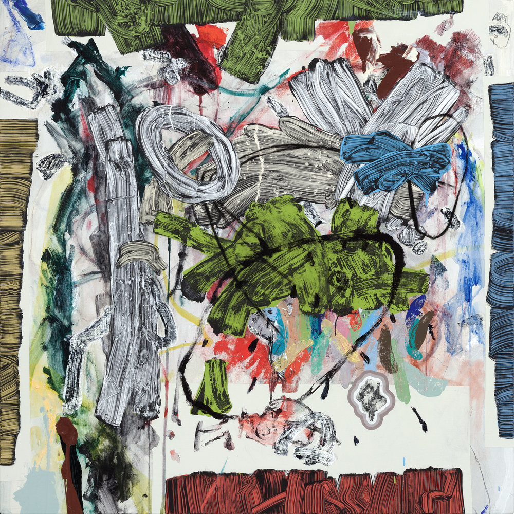 "REPRODUCING JESSE'S DRAWING 5 mixed media on canvas 34"" x 34"""